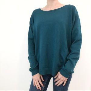 Cable & Gauge Sweater Teal Long Sleeve Zipper M